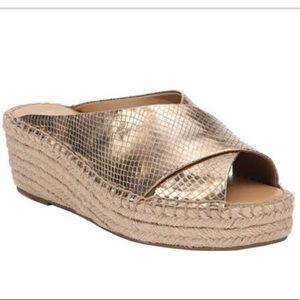 Franco Sarto Gold Polina Platform Espadrille Shoes